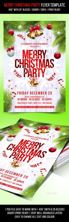 Christmas New Year Party Flyer  Party Flyer Flyer Template And