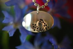 Sterling silver domed floral pendant by SilverByKat on Etsy