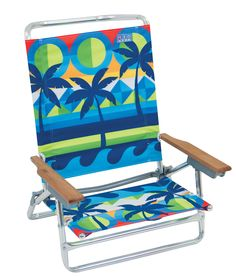 Classic 5-Position Aluminum Beach Chair-Graphic Arts Print Palms