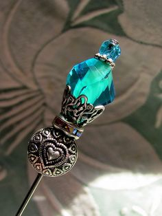 "new design ""WHO ARE YOU"" Wonderland Blue ""Victorian-style"" Hat Pin by gardenofweedingirl"