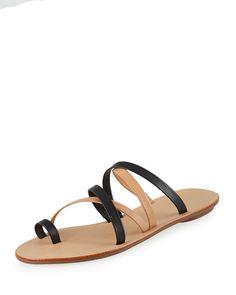 001fa1de7007 Loeffler Randall Sarie Leather Toe-Ring Flat Sandal
