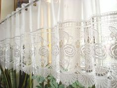 cafe kitchen curtain it has dainty rose solubility lace curtains lace ...