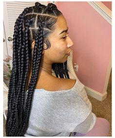 Box Braids Hairstyles For Black Women, Braids Hairstyles Pictures, Twist Braid Hairstyles, African Braids Hairstyles, Baddie Hairstyles, Braids For Black Hair, Twist Braids, Girl Hairstyles, 4 Braids Cornrows