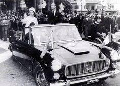 Queen Elizabeth II on a Lancia Flaminia Presidenziale in Italy