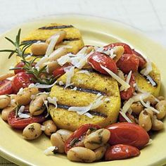 The tomato-and-white bean mixture and the polenta cook in only a matter of minutes. To keep this recipe quick and easy yet deliver attractive grill marks, we used a grill pan instead of firing up an outdoor grill. If you don't have a grill pan, use a nonstick skillet.