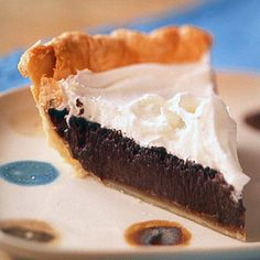 Chocolate Fudge Pie - This healthier version of chocolate cream pie is made with low-fat milk, unsweetened cocoa, fat-free whipped topping, and fewer egg yolks than the traditional dessert. (272 cals)