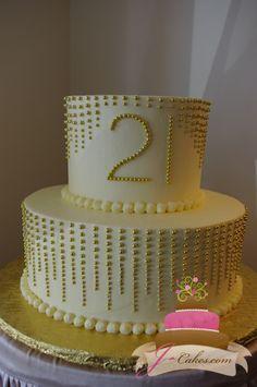 (120) Gold Dragee 21st Birthday Cake