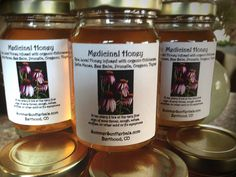 Medicinal Honey, infused with immune boosting herbs to head off any colds or flu. Very effective and delicious! Great for kids and adults. by SummerSunHerbals on Etsy