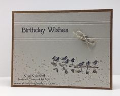 "By Kay Kalthoff. Uses stamp from Stampin' Up ""Wetlands."" Video tutorial on her website."