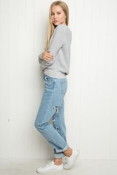 ANY HIGH RISE JEAN IN A LIGHTER DENIM  Brandy ♥ Melville | High-Rise Ripped Mom Jeans - Pants - Bottoms - Clothing