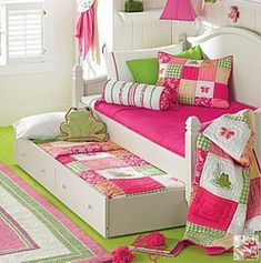 Pink and green flowers, frogs and butterflies for cute and playful girl's bedroom decor!