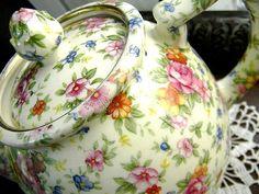 Chintz Teapots   Chintz Teapot Tea Pot c1950 Transferware 7499 by VintageKeepsakes