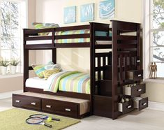 Allentown Espresso Bunk Bed 10170 $614  Description :  Designed to save space, this twin over twin bunk bed is a perfect solution for your children's bedroom. The piece carries a rich espresso finish and offers durability as well as a relaxing style. The full-length guard rails provide safety. The included staircase allows easy access to the top bunk. Plus, the staircase features drawers for additional storage and convenience.  Features :  Bunkie Board Not Required With Strorage Ladder