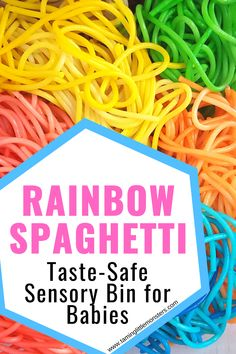 Learn how to make taste-safe rainbow spaghetti for baby, toddlers and preschool sensory play activities. This sensory bin filler is fun and the recipe is so easy to make. #sensory #babies #toddlers #preschool Sensory Activities For Preschoolers, Rainbow Activities, Rainy Day Activities, Indoor Activities For Kids, Preschool Science, Spring Activities, Hands On Activities, Infant Activities, Toddler Preschool
