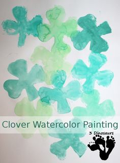 Clover Watercolor Painting - painting with cookie cutters - 3Dinosaurs.com