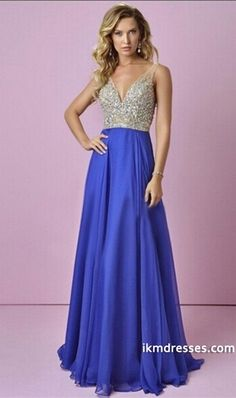 015 Prom Dress V-Neck A-Line Beaded Tulle Bodice Sweep Train Chiffon http://www.ikmdresses.com/2015-Prom-Dress-V-Neck-A-Line-Beaded-Tulle-Bodice-Sweep-Train-Chiffon-p82283