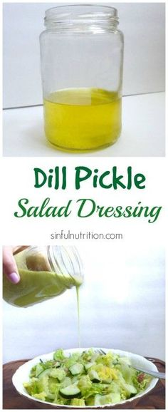 Calling all pickle lovers! A tangy and creamy dill pickle salad dressing recipe made with pickle juice, avocado, and olive oil. #paleo #vegan #glutenfree