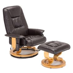 CRAVOG (UK Stock) Massage Recliner Chair with Foot Stool Real Leather Swivel Armchair (Brown): Amazon.co.uk: Kitchen & Home