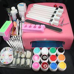 Hot Sale Professional Nail Art Set 36W UV Lamp 12 Color UV Gel Tool Decoreations