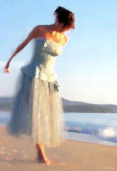 On the Beach Digital Painting