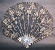 antique Art Deco black net silver metallic lace Spanish flapper fontage fan dates from the 1920s
