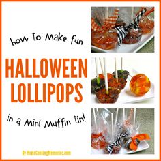 Want to make homemade lollipops, but don't have a candy mold? Here's how you can make fun HALLOWEEN LOLLIPOPS - in a mini muffin tin!