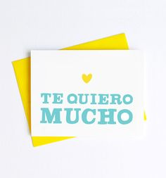 Express your love in Spanish with out Te Quiero greeting card! This card is blank inside for your personal message. DETAILS - Cards measure x inches - Available individually or in boxed sets Love Others, Love You, My Love, Love In Spanish, Perfection Quotes, Funny Tattoos, More Than Words, Spanish Quotes, Travel Quotes