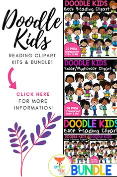 This bundle of cute and vibrant clipart features doodle kids reading traditional books and reading/listening to ebooks/audiobooks. The bundle includes 136 images, 68 color and 68 Black & White, making it perfect for worksheets that suit today's techy and traditional readers! Click to find out more!  #teacherspayteachers #tpt #reading #ebooks Middle School Reading, Kids Reading, Primary Education, Elementary Education, Doodle Kids, Book Clip Art, Traditional Books, Fox Design, Elementary Teacher