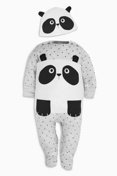 Buy Black White Panda Sleepsuit And Hat from the Next UK online shop 6cd44c29bc690