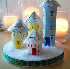 Make a Recycled Cardboard Tube Christmas Village
