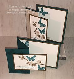 Tammie Stamps: Pretty Peacock Fun Fold Butterfly Wishes Card. Pretty Peacock and Soft Suede, Butterfly Wishes stamp set, Stampin'Up! Fun Fold Cards, Pop Up Cards, Folded Cards, Cool Cards, Clay Stamps, Best Wishes Card, Origami, 3d Christmas, Card Making Techniques