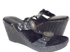 BARE TRAPS 'SEDONA' Women's Shoes Black Leather Wedge Sandals US Size 9.5