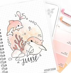 40 Ocean themed bullet journal ideas you want to sea.oops see! - Almost a mess - - Welcome again to another bullet journal collection! This time I went for a ocean bullet journal theme and I collected bullet ocean journal ideas. Bullet Journal Cover Page, Bullet Journal Writing, Bullet Journal Aesthetic, Bullet Journal School, Bullet Journal Ideas Pages, Bullet Journal Spread, Journal Covers, Bullet Journal Inspiration, Bullet Journal Months