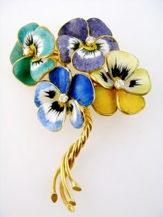 14K Enamel Enameled Diamond Pansy Bouquet Brooch, c. 1940s
