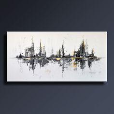 72 grand noir blanc gris or peinture ABSTRAITE sur toile par itarts