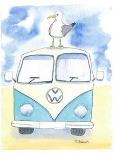 Bunting campervan blue with seagull. £13.00, via Etsy.