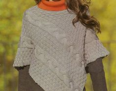 Lavori a maglia per creare un poncho a treccioni 422dec12b19c