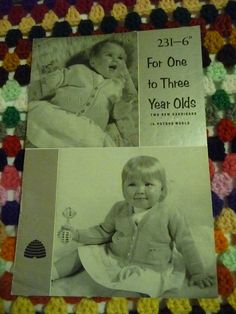 Patons vintage knitting pattern 231 for One to Three Year Olds cardigans - inc chicks on pockets 1950s. £1.00, via Etsy.