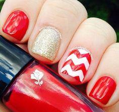 Chevron Red Nails