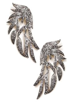"""""""Champagne Diamond Angel Wing Earrings - 3.36 ctw.""""  If I could find a pair of earrings like this but about half the size, I would love to have them! ... Maybe I'll someday find them at a Charming Charlie's or an H&M??"""