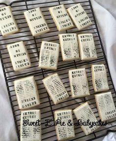 """First birthday """"Newsie"""" newspaper cookies (My cookies)"""
