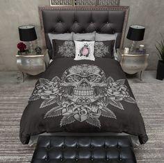 Grey Skull and Roses on Slate Duvet Bedding Sets