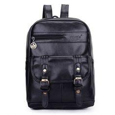 Vintage Buckled Pebbled Leather Backpack