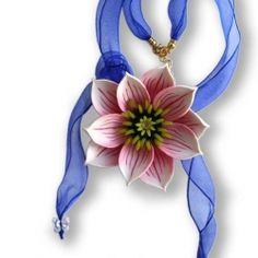 Magic necklace, polymer clay, tape, bead Svarovski