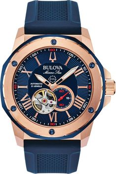 Bulova Watch Marine Star Mens #add-content #allow-discount-yes #basel-20 #bezel-fixed #bracelet-strap-rubber #brand-bulova #case-depth-13-45mm #case-material-rose-gold-pvd #case-width-45mm #delivery-timescale-call-us #dial-colour-blue #fashion #gender-mens #movement-automatic #new-product-yes #official-stockist-for-bulova-watches #packaging-bulova-watch-packaging #sale-item-no #style-dress #subcat-marine-star Bulova Marine Star, Bulova Watches, Blue Tones, Automatic Watch, Casio Watch, Stainless Steel Case, Handbag Accessories, Watches For Men, Fine Jewelry