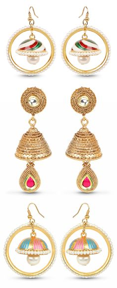 Polki & Pink Stone Gold Plated Green Enamel Bell Shape Jhumki Earrings Johareez.com