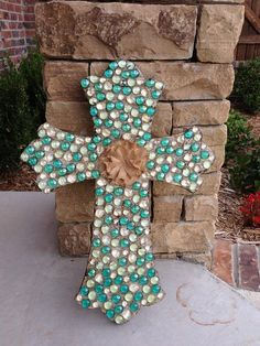 Wall Cross Decorative Wall Cross Embellished by InitialCrossings, $60.00