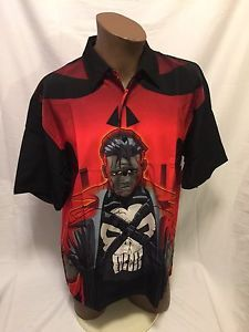 Vintage 2001 Marvel Punisher Button Down Collar Shirt Skull Graphic Large New | eBay