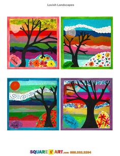 Art- tissue collage background then paintgraders paper art paintings are such great inspirations for classrooms, home art parties, summer camp, weekend & afterschool camps and art camps. Third and Fourth Grade pointillism project. Square One Art, 4th Grade Art, Ecole Art, School Art Projects, Art Lessons Elementary, Autumn Art, Art Lesson Plans, Art Classroom, Art Plastique