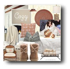 """""""warm lighting and cozy textiles"""" by jennross76 ❤ liked on Polyvore featuring interior, interiors, interior design, home, home decor, interior decorating, Rhody Rug, Safavieh, SS Print Shop and Gap"""